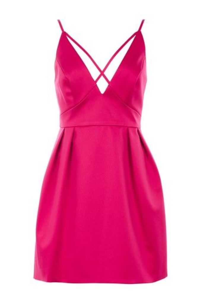Womens Cross Front Mini Prom Dress - Rose, Rose