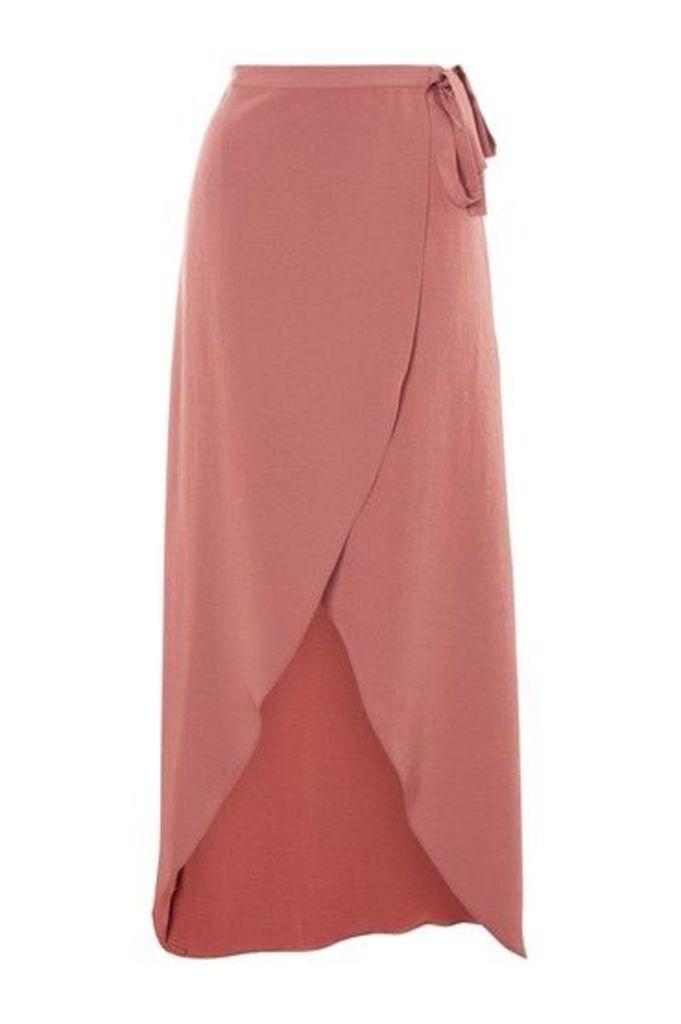 Womens Soft Wrap Maxi Skirt - Rose, Rose