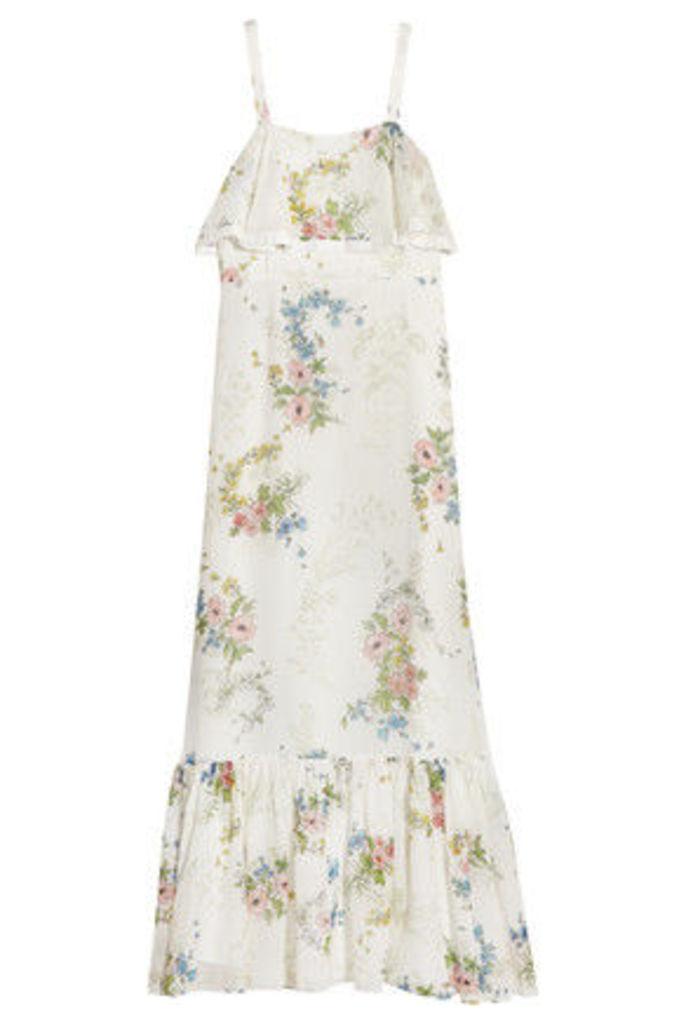 Topshop Unique - Hambledon Floral-print Silk-georgette Maxi Dress - Ivory