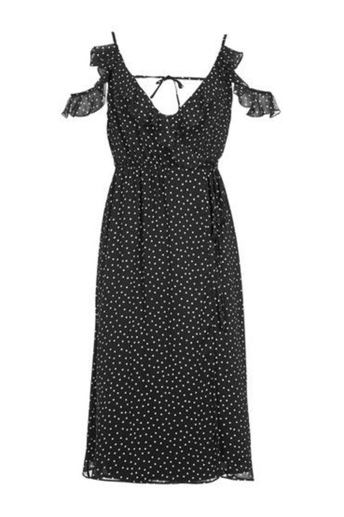 Womens Spot Cold Shoulder Midi Dress - Navy Blue, Navy Blue