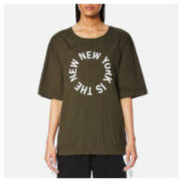 DKNY Women's Short Sleeve Logo Shirt with Side Slits and Drawcords - Military/White