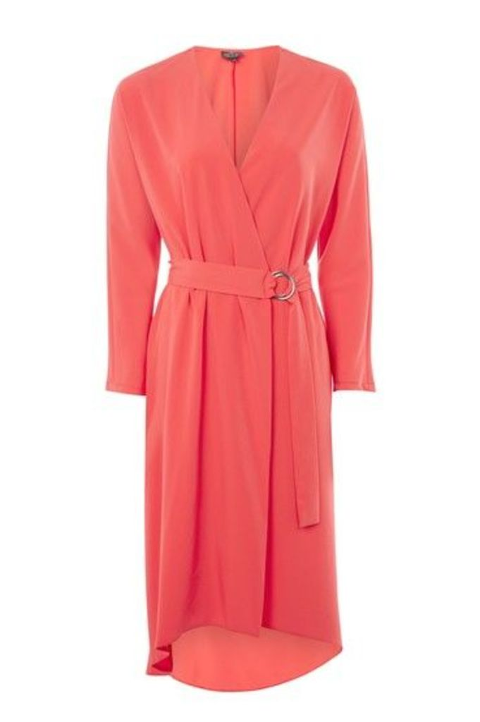 Womens TALL Ring Wrap Dress - Bright Red, Bright Red