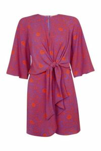 Womens Rose Print Knot Front Dress - Purple, Purple