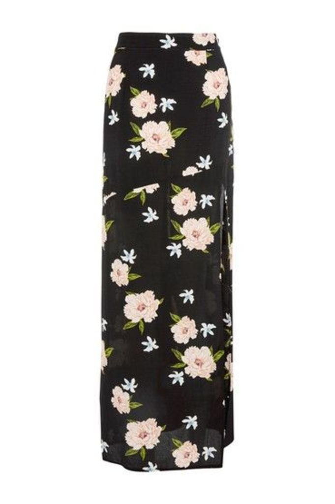 Womens Soft Wrap Maxi Skirt - Black, Black