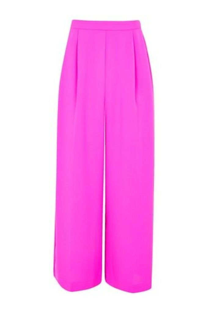 Womens Crop Wide Leg Trousers - Pink, Pink