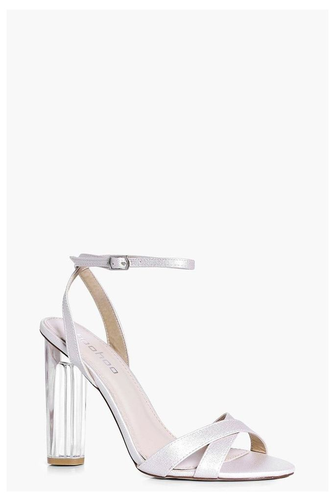 Bridal Cross Front Clear Heel Sandal - cream