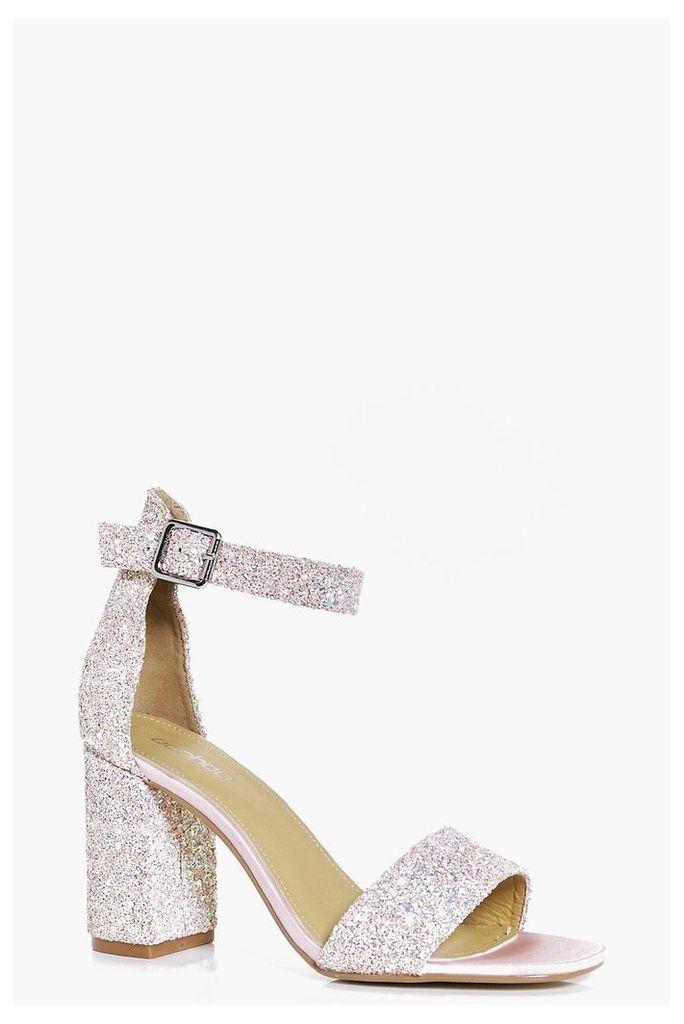 Bridal Glitter Block Heel Two Part - pink