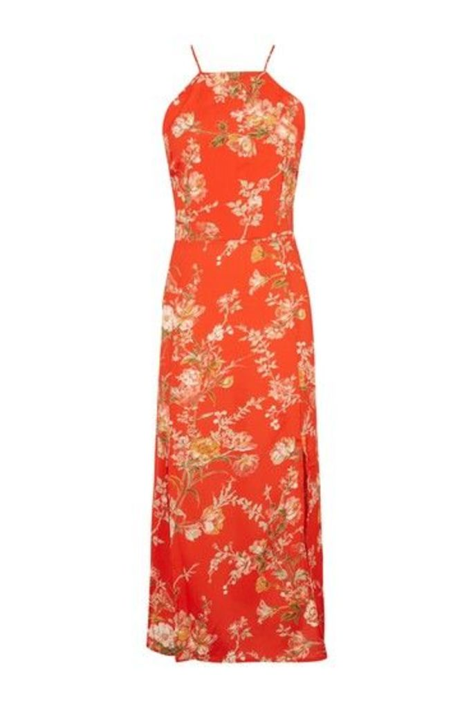 Womens Eastern Floral Midi Slip Dress - Red, Red