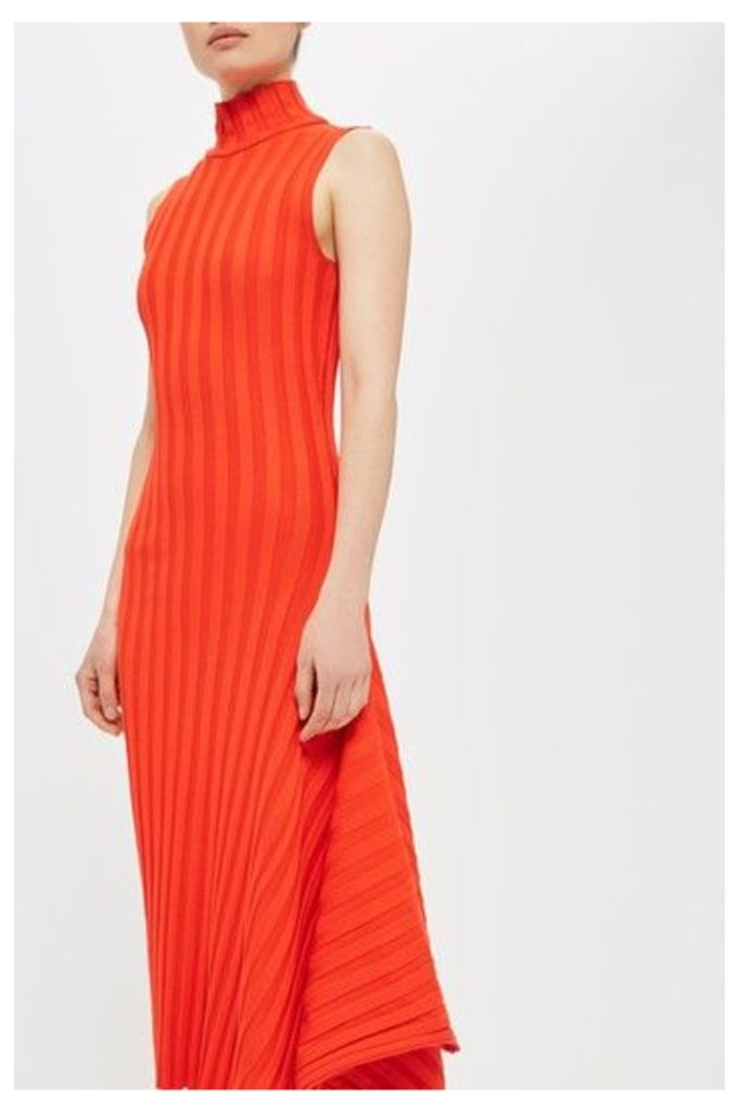Womens Asymmetric Ribbed Dress by Boutique - Red, Red