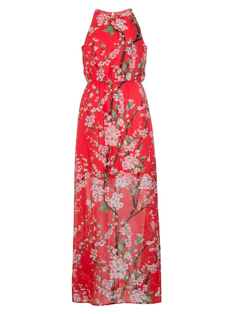 Womens *Quiz Red Chiffon Floral Maxi Dress- Red