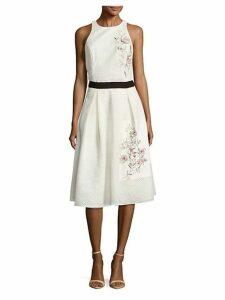 Bouganvllea Floral-Motif Pleated Skirt