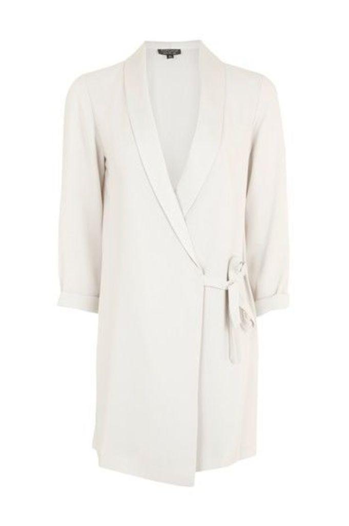 Womens PETITE Satin Blazer Dress - Silver, Silver