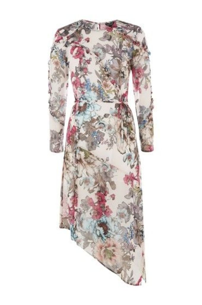 Womens PETITE Pop Floral Print Ruffle Dress - Pink, Pink