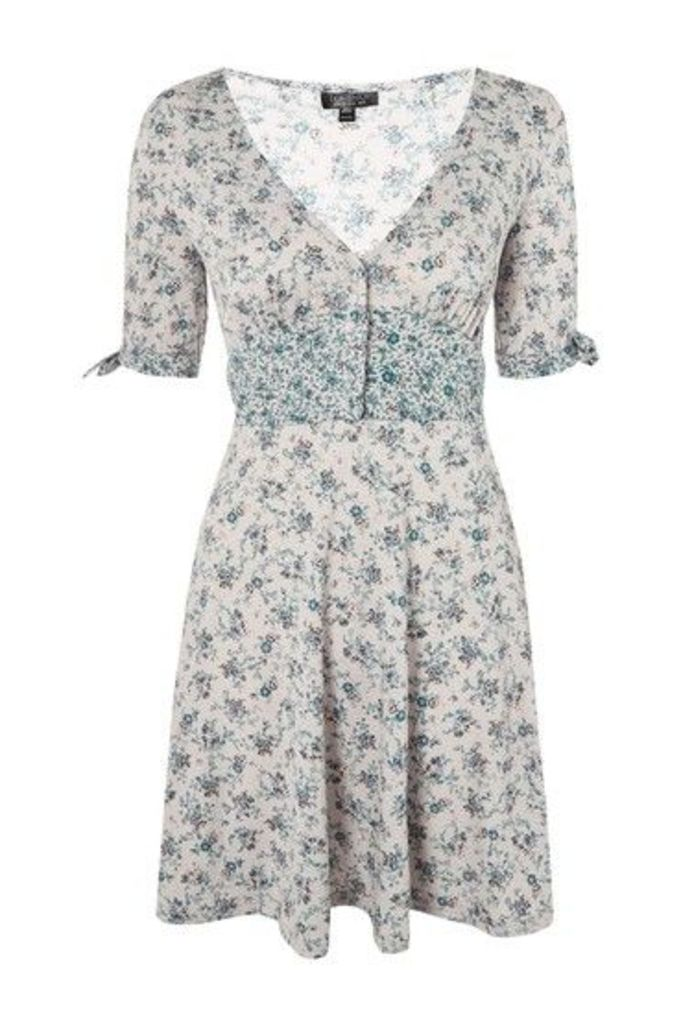 Womens Ditsy Print Button Through Dress - Light Grey, Light Grey