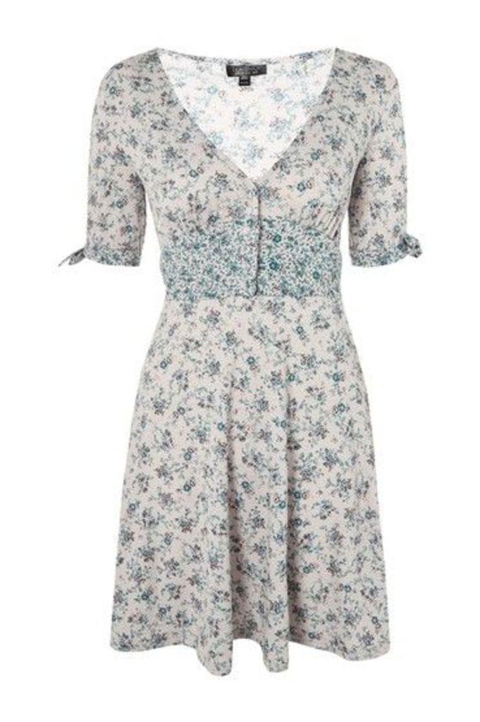Womens Ditsy Print Button Through Dress - Light Grey, Light Grey