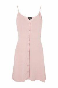 Womens PETITE Button Asymmetric Dress - Pale Pink, Pale Pink