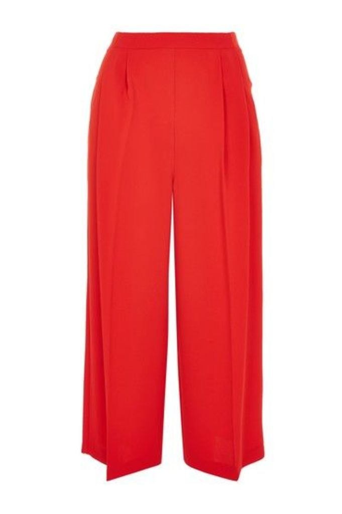 Womens Crop Wide Leg Trousers - Red, Red