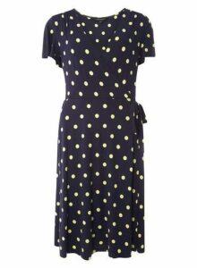 Womens **Tall Navy Spot Wrap Dress- Navy, Navy