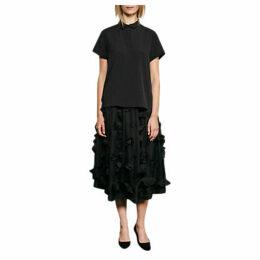 French Connection Agnes Floral Applique Midi Skirt, Black
