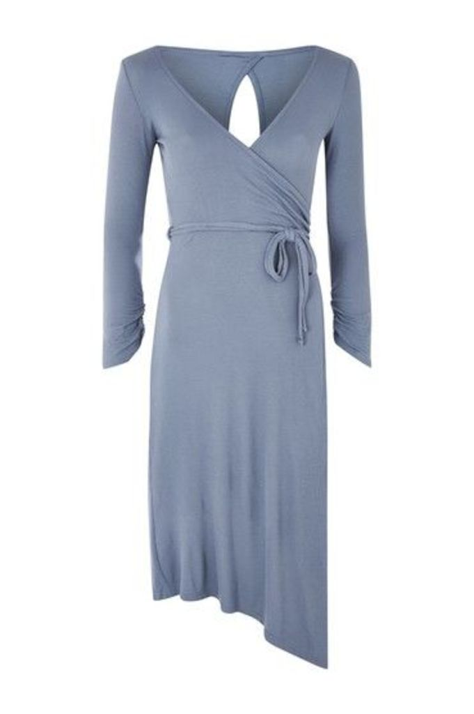 Womens Belted Wrap Midi Dress - Stone, Stone