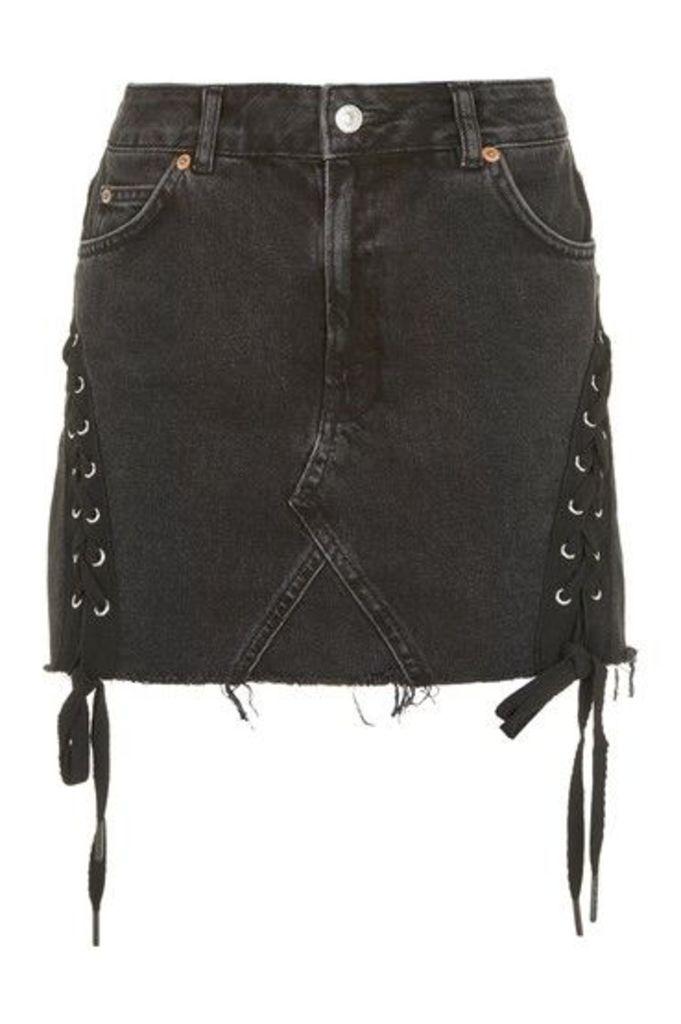 Womens MOTO Lace Highwaisted Skirt - Washed Black, Washed Black