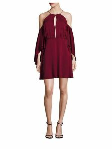 Melody Cold-Shoulder Silk Dress