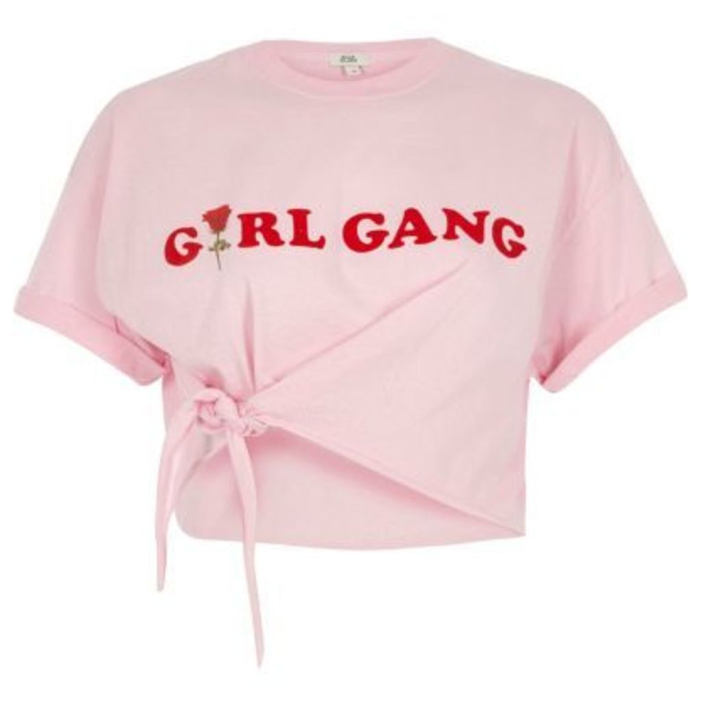 River Island Womens Pink 'girl gang' front knot cropped T-shirt