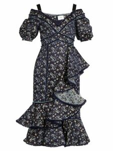 Erdem - Kaitlyn Floral Jacquard Open Shoulder Dress - Womens - Navy Print