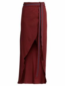 Albus Lumen - Porto Cotton Blend Ribbed Jersey Wrap Skirt - Womens - Burgundy