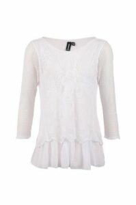 Net Top With Lace Panel