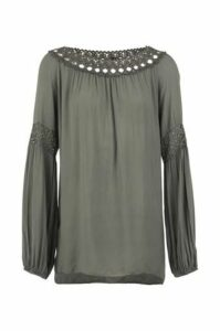 Bardot Blouse Top With Lace Detail
