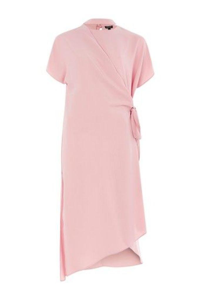 Womens Slash Neck Wrap Midi Dress - Blush, Blush