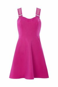 Womens PETITE Airtex Strappy Skater Dress - Magenta, Magenta