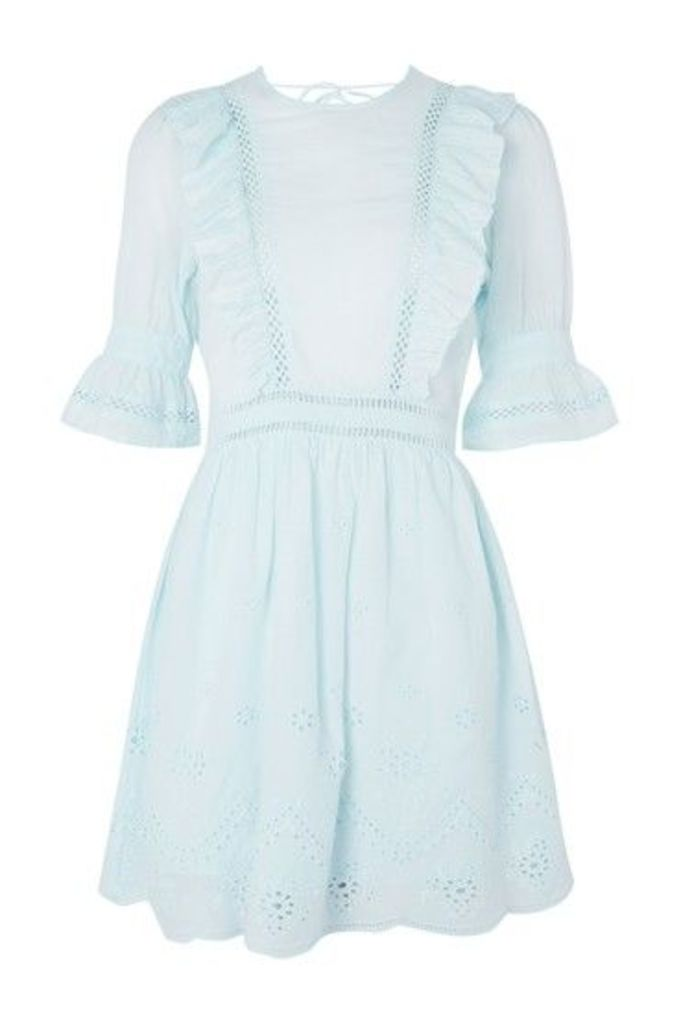 Womens Broderie Ruffle Dress - Mint, Mint