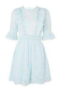 Womens Broderie Ruffle Dress - Mint, Mint