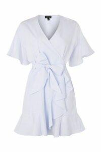 Womens Stripe Ruffle Wrap Dress - Light Blue, Light Blue