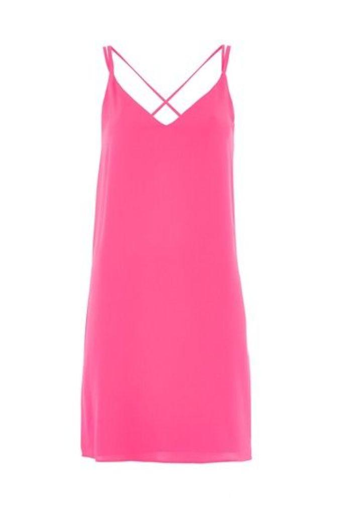 Womens Cross Strap Slip Dress - Magenta, Magenta