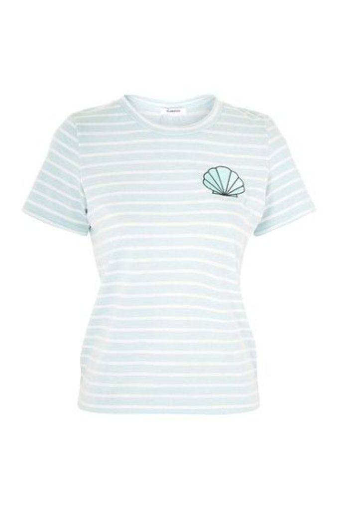 Womens **Striped Embroidered T-Shirt by Glamorous - Blue, Blue