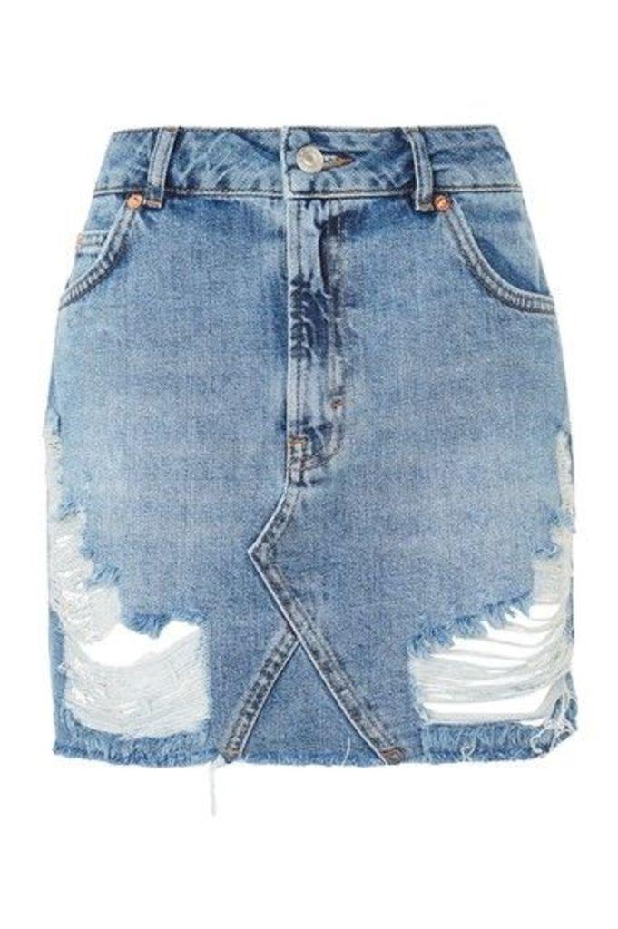 Womens MOTO Rip Denim Mini Skirt - Mid Stone, Mid Stone