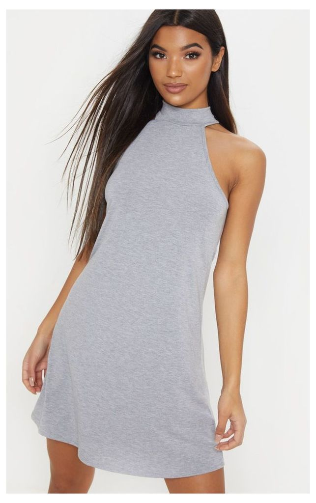 Basic Grey Marl Jersey High Neck Swing Dress, Grey