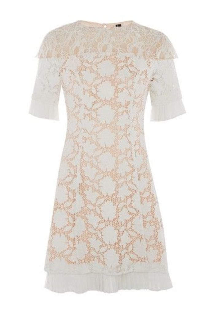 Womens Lace Cap Sleeve Dress - White, White