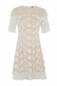 Womens Lace Cap Sleeve Dress - White, White