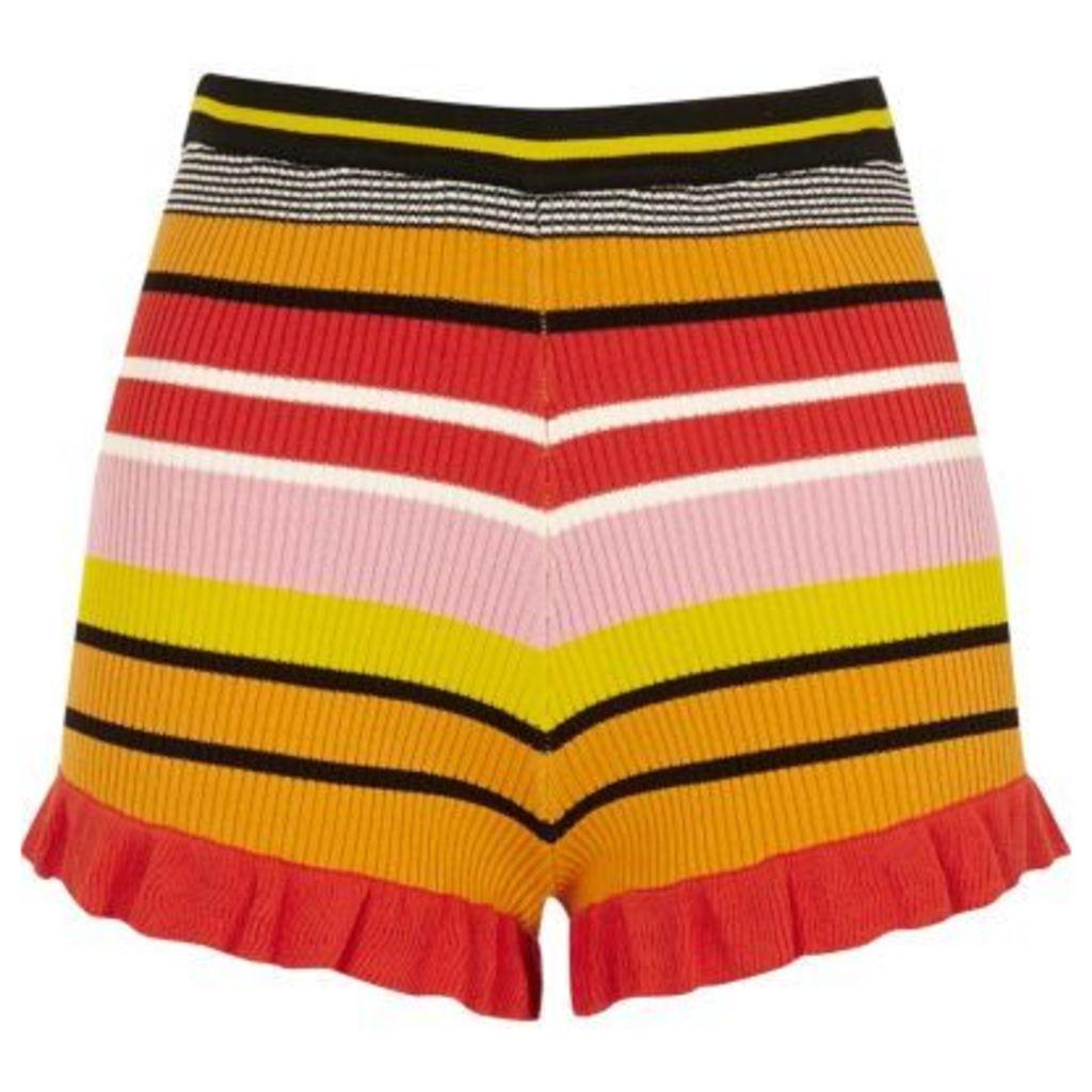 River Island Womens Pink stripe knit frill hem shorts