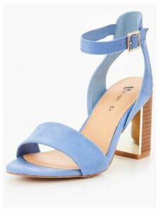 V by Very Bambi Wide Fit Heeled Sandal- Blue, Blue, Size 8, Women