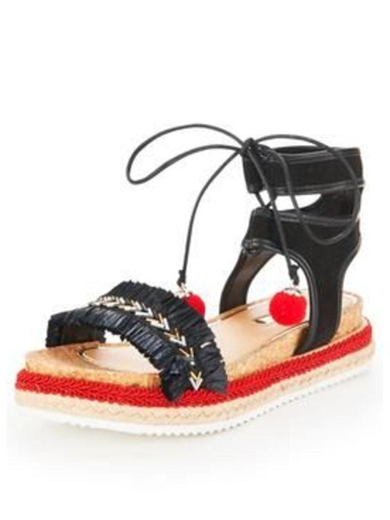 Miss KG Pebble Fringe Flat Sandal, Multi, Size 8, Women