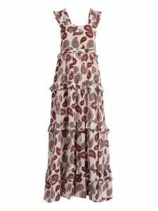 Dodo Bar Or - Kat Paisley Print Silk Maxi Dress - Womens - White Print