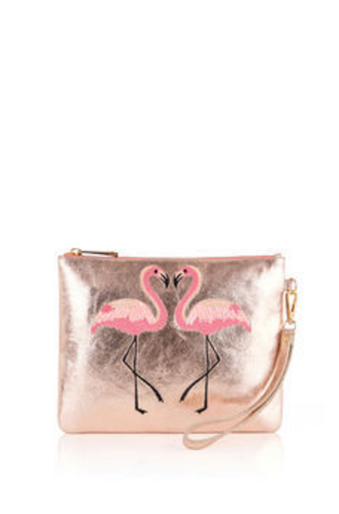 KISSING FLAMINGO CLUTCH