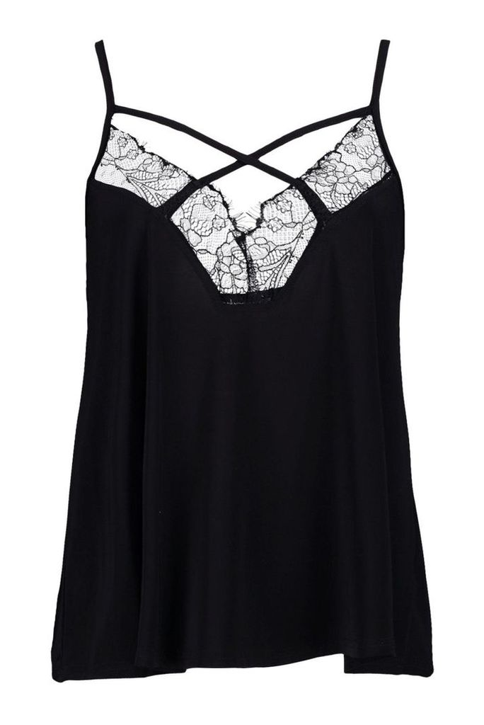 Lace Trim Silky Cami - black