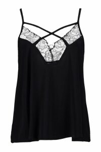 Lace Trim Silky Cami - black