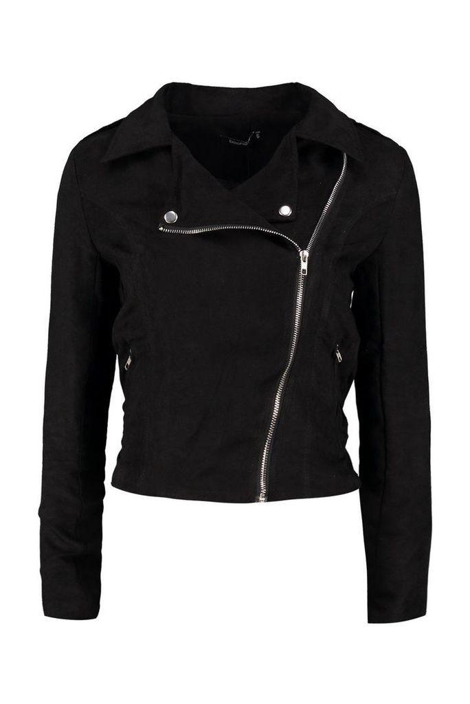 Olivia Belted Suedette Biker Jacket - black